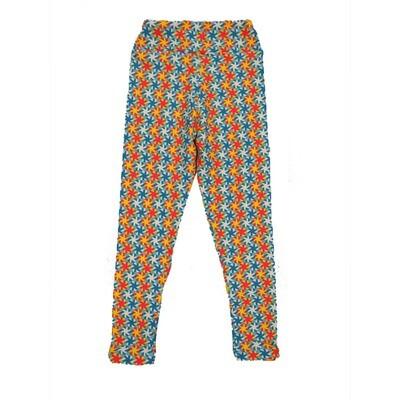 LuLaRoe Kids Small-Medium Floral Geometric Stripe Polka Dot Leggings ( S/M fits kids 2-8 ) SM-1003-N