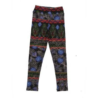 LuLaRoe Kids Small-Medium Floral Stitched Pattern Leggings ( S/M fits kids 2-8 ) SM-1001-K