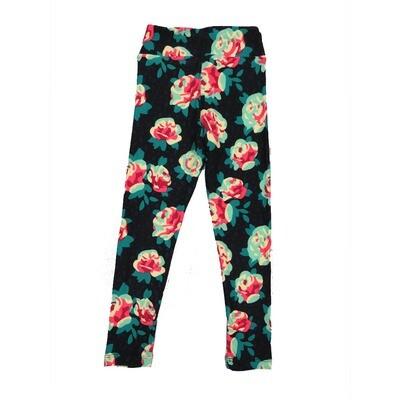 LuLaRoe Kids Small-Medium Floral Roses Leggings ( S/M fits kids 2-8 ) SM-1001-R