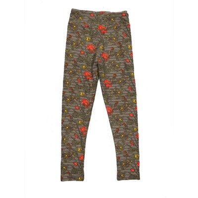 LuLaRoe Kids Small-Medium Floral Stripe Leggings ( S/M fits kids 2-8 ) SM-1003-X