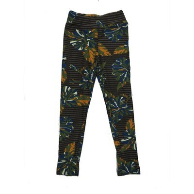 LuLaRoe Kids Small-Medium Floral Stripe Leggings ( S/M fits kids 2-8 ) SM-1007-D