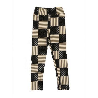 LuLaRoe Kids Small-Medium USA Flag Checkerboard Black White Leggings ( S/M fits kids 2-8 ) SM-1004-D