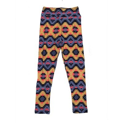 LuLaRoe Kids Small-Medium Geometric Zig Zag Aztek Leggings ( S/M fits kids 2-8 ) SM-1004-U