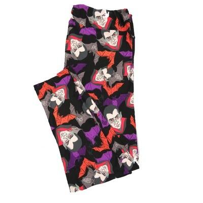 LuLaRoe TC2 Halloween Dracula Nosfaratu Vampire Bats Leggings (TC2 fits sizes 18+) 9004-J