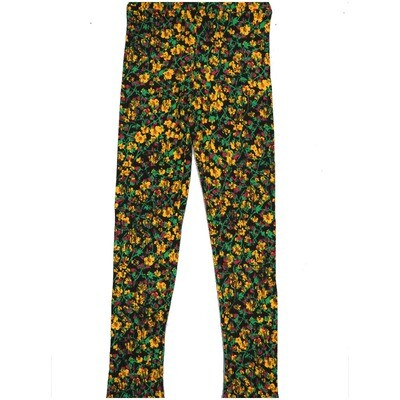 LuLaRoe Kids Large-XL Floral Black Yellow Leggings ( L/XL fits kids 8-14) LXL-2002-H