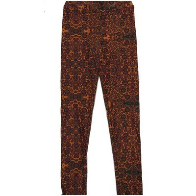 LuLaRoe Kids Large-XL Floral Orange Red Leggings ( L/XL fits kids 8-14) LXL-2004-S
