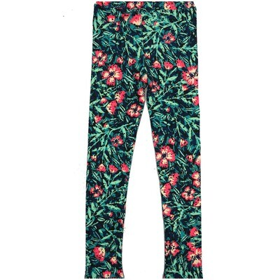 LuLaRoe Kids Large-XL Floral Blue White Leggings ( L/XL fits kids 8-14) LXL-2002-A2