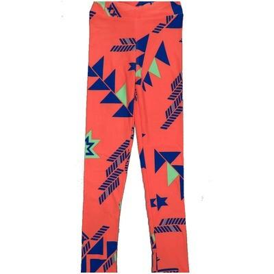 LuLaRoe Kids Large-XL Geometric Peach Blue Leggings ( L/XL fits kids 8-14) LXL-2005-C2