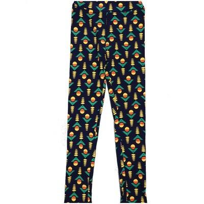 LuLaRoe Kids Large-XL Geometric Navy Yellow Green Leggings ( L/XL fits kids 8-14) LXL-2004-A3