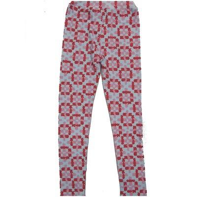 LuLaRoe Kids Large-XL Checkerboard Geometric Red Gray Leggings ( L/XL fits kids 8-14) LXL-2004-E
