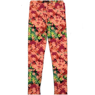 LuLaRoe Kids Large-XL Floral Green Red Yellow Leggings ( L/XL fits kids 8-14) LXL-2002-M
