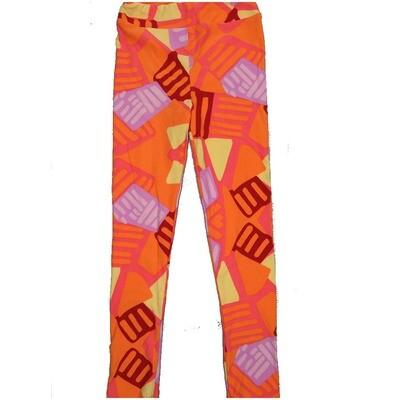 LuLaRoe Kids Large-XL Geometric Red Orange Teal Leggings ( L/XL fits kids 8-14) LXL-2005-H2