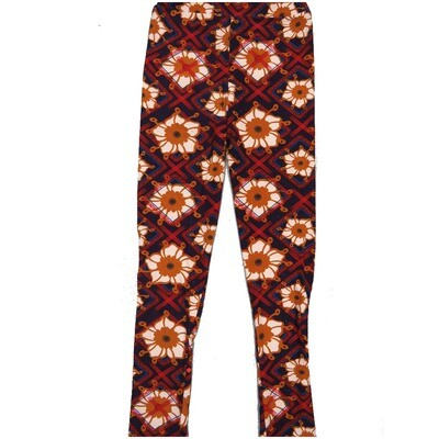 LuLaRoe Kids Large-XL Floral Geometric Black White Red Leggings ( L/XL fits kids 8-14) LXL-2001-A2
