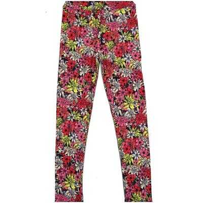 LuLaRoe Kids Large-XL Floral Black Yellow White Teal Leggings ( L/XL fits kids 8-14) LXL-2003-J