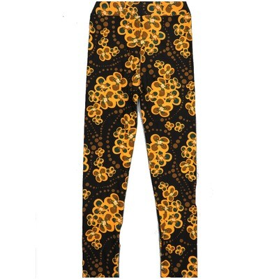 LuLaRoe Kids Large-XL Floral Black Green Polka Dot Leggings ( L/XL fits kids 8-14) LXL-2002-T