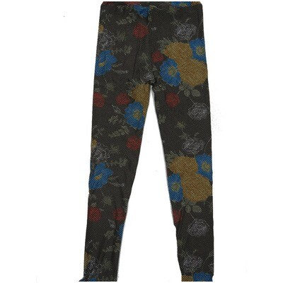 LuLaRoe Kids Large-XL Roses Floral Geometric Polka Dot Leggings ( L/XL fits kids 8-14) LXL-2001-C2