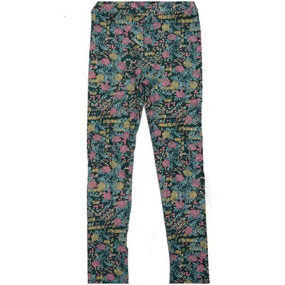 LuLaRoe Kids Large-XL Floral Abstract Geometric Black Blue Gray Leggings ( L/XL fits kids 8-14) LXL-2002-C2