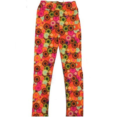 LuLaRoe Kids Large-XL Floral Daisy Peach Yellow Green Black Leggings ( L/XL fits kids 8-14) LXL-2003-D