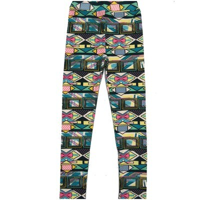 LuLaRoe Kids Large-XL Geometric Polka Stripe Black Teal Yellow Leggings ( L/XL fits kids 8-14) LXL-2005-R