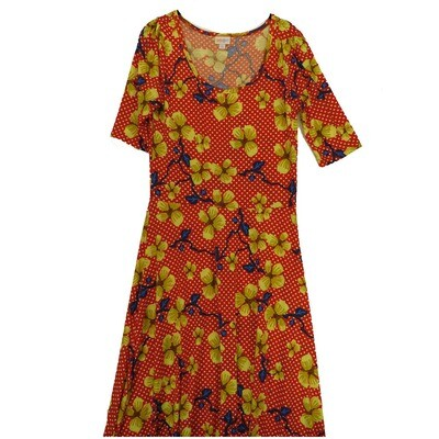 LuLaRoe Ana Large Red White Blue Yellow Floral Polka Dot Floor Length Maxi Dress fits sizes 12-14