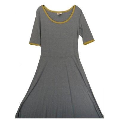 LuLaRoe Ana Large Solid Heathered Light Blue with Mustard Trim Floor Length Maxi Dress fits sizes 12-14