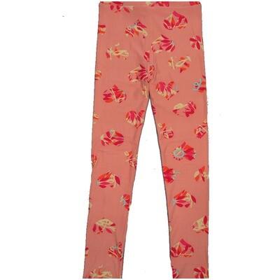 LuLaRoe Kids Large-XL Valentines Hearts Floral Polka Dot Pink Peach  Leggings ( L/XL fits kids 8-14) LXL-2000-N2