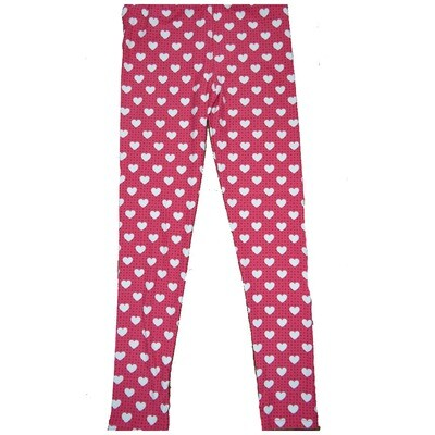 LuLaRoe Kids Large-XL ( LXL ) Valentines Red and Black Polka Dot White Hearts Leggings fits Kids sizes 8-14