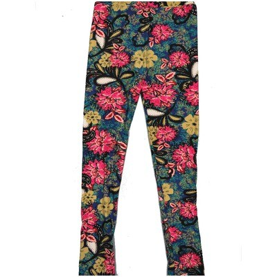 LuLaRoe Kids Large-XL Paisley Floral Black White Teal Coral Pink Leggings ( L/XL fits kids 8-14) LXL-2001-B2