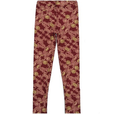 LuLaRoe Kids Large-XL Floral Mandala Geometric Vine Maroon Gray Green Leggings ( L/XL fits kids 8-14) LXL-2003-B