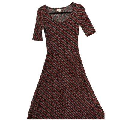 LuLaRoe Ana X-Small XS Geometric Pink Blue White Diagonal Stripe Floor Length Maxi Dress fits sizes 2-4