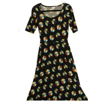LuLaRoe Ana X-Small XS Black and Multicolor Hexagon Polka Dot Floor Length Maxi Dress fits sizes 2-4