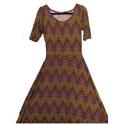 LuLaRoe Ana Small S Purple Rainbow Multicolor Aztek Southwestern Geometric Stripe Floor Length Maxi Dress fits sizes 4-6