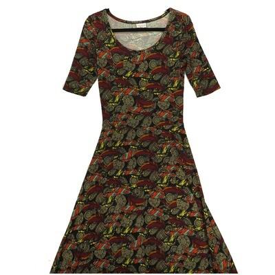 LuLaRoe Ana Small S Feathers Mandalas Black Multicolor Geometric Floor Length Maxi Dress fits sizes 4-6