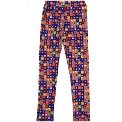 LuLaRoe Kids Large-XL Checkerboard Polka Dot Blue Green Yellow Multicolor Leggings ( L/XL fits kids 8-14) LXL-2005-N