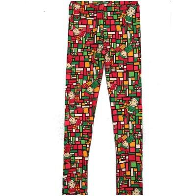 LuLaRoe Kids Large-XL Christmas Elves Present Geometric Black Red Green White Leggings ( L/XL fits kids 8-14) LXL-2000-Q