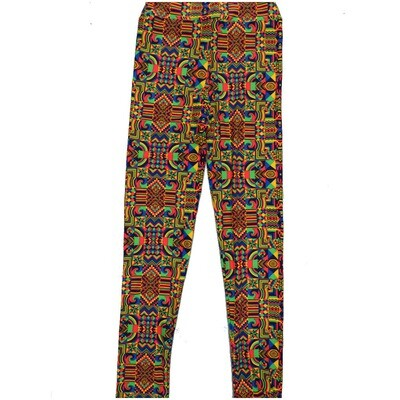 LuLaRoe Kids Large-XL Trippy Directional Symbol Swirls Spiral Gods Eye Geometric Black Yellow Blue Leggings ( L/XL fits kids 8-14) LXL-2005-U