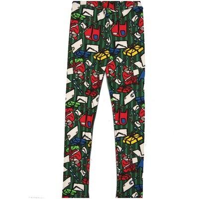 LuLaRoe Kids Large-XL Letters to Santa Mailbox Candy Cane Stripe Green Red White Leggings ( L/XL fits kids 8-14) LXL-2000-W