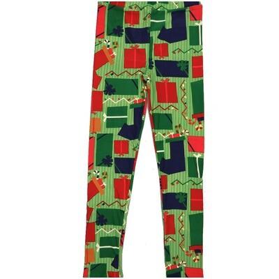 LuLaRoe Kids Large-XL Christmas Presents Stockings Herringbone Stripe Green Red Blue White Leggings ( L/XL fits kids 8-14) LXL-2000-T