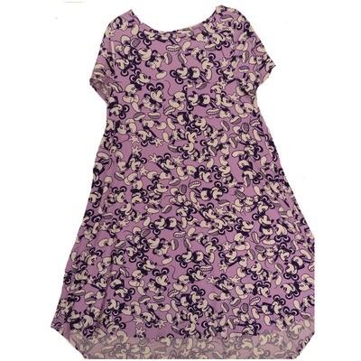 LuLaRoe CARLY Small S Disney Mickey Mouse Lavender Purple Swing Dress fits Women 6-8