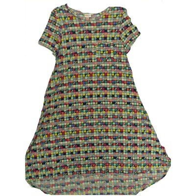 LuLaRoe CARLY X-Small XS Multicolor Geometric Swing Dress fits Women 2-4
