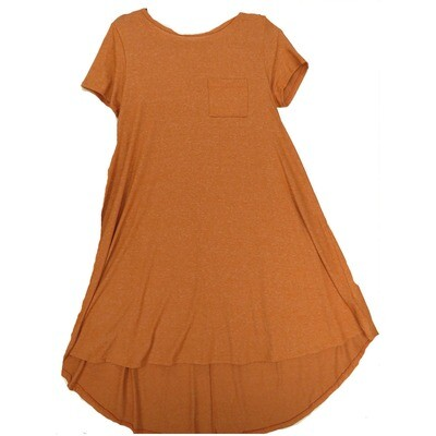 LuLaRoe CARLY X-Small XS Solid Heathered Burnt Orange Swing Dress fits Women 2-4