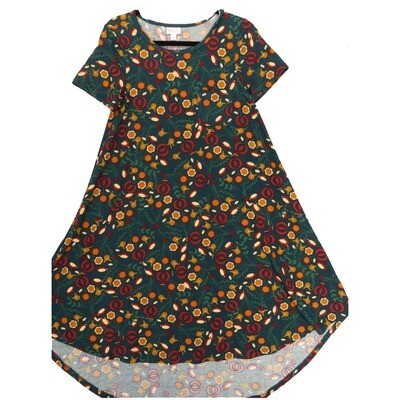 LuLaRoe CARLY X-Small XS Floral Pine Green Brown Maroon Swing Dress fits Women 2-4