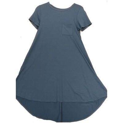 LuLaRoe CARLY XX-Small XXS Solid Blue Swing Dress fits Women 00-0