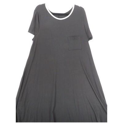 LuLaRoe CARLY XXX-Large 3XL Solid Black Swing Dress fits Women 26-28