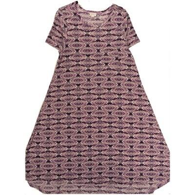 LuLaRoe CARLY Small S Geometric Aztek Southwestern Lavender Purple White Swing Dress fits Women 6-8