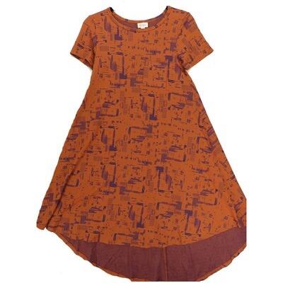 LuLaRoe CARLY XX-Small XXS Geometric Purple Pink Swing Dress fits Women 00-0