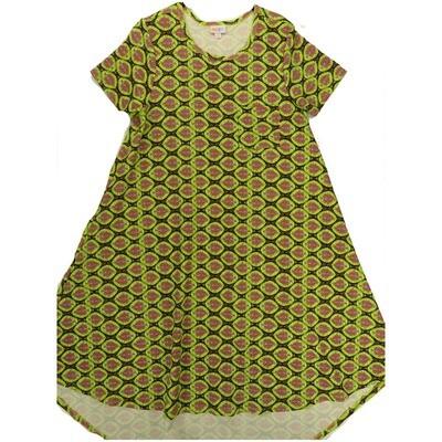 LuLaRoe CARLY Small S Geometric Lime Green Purple Swing Dress fits Women 6-8