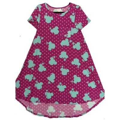 LuLaRoe CARLY XX-Small XXS Disney Minnie Mouse Purple Turquoise Polka Dot Swing Dress fits Women 00-0