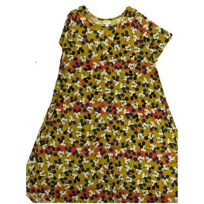 LuLaRoe CARLY XX-Large 2XL Disney Smiling Mickey Mouse Mustard Navy Pink Swing Dress fits Women 22-24