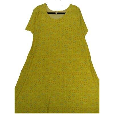 LuLaRoe CARLY XXX-Large 3XL Geometric Chevron Yellow Lavender Pink Swing Dress fits Women 26-28